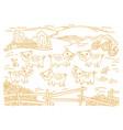 pig farm is livestock three cows in barnyard vector image vector image
