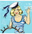 pop art sailor pin up girl vector image vector image