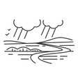 rain and landscape mountains and hills valley vector image vector image