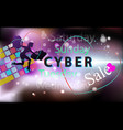 sale technology girl background for cyber monday vector image