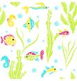 Seamless kids ocean fish background vector image vector image