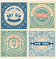 set of 4 old labels vector image