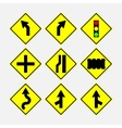 Set of road signs direction of movement