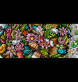 spring hand drawn doodle banner cartoon detailed vector image vector image