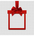 square banner in form of gift with red ribbon and