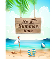 Summer Time on background seascape beach waves vector image vector image