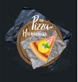 the pizza hawaiian slice without background vector image
