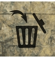 Trash bin Flat modern web button and space for vector image