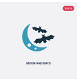 two color moon and bats icon from animals concept vector image vector image