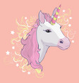 unicorn icon isolated on white head portrait vector image vector image
