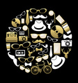 Vintage hipster concept icons silhouette in gold vector image vector image