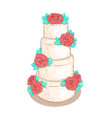 white layered wedding cake with flowers isolated vector image