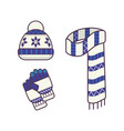 winter hat cap with snowflake and pompom scarf vector image