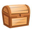 wooden chest on white background vector image