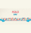 world peace day card of diverse people group vector image