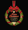 fir wreath with red ribbon and bow vector image