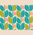 geometric pattern with vintage abstract flowers vector image