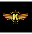 Letter K winged crests logo Alphabet logotype vector image