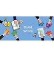 team work concept together use puzzle or jigsaw vector image