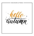 Hello autumn lettering with black splashes vector image