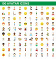 100 avatar icons set cartoon style vector image vector image
