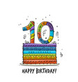 10th anniversary celebration greeting card vector image vector image