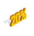 20 percent off sale golden-yellow object 3d vector image vector image