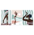 african boho people dance wall art set abstract vector image vector image