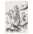 alpine landscape drawing high mountains in the vector image vector image