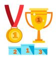 award icons winner first place gold vector image