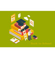 back to school isometric design with stack vector image