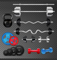 barbells realistic icons set vector image vector image