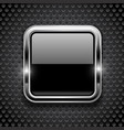 black button on metal perforated background vector image