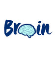 brain symbol and lettering vector image