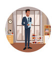 businessman cartoon round icon vector image