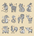 chinese zodiac cartoon style vector image