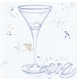 Cocktail Dirty Martini on a notebook page vector image vector image