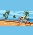 couple sitting on the deck chairs at the sea view vector image vector image
