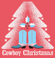 cowboy christmas card red background with western vector image