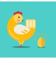 Cute cartoon chicken and gold egg vector image vector image