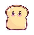 cute food slice bread sweet dessert kawaii cartoon vector image vector image