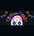 day dead colorful sugar skull banner vector image vector image