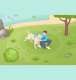 dog pet and owner walking and playing in park vector image vector image