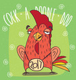 drunken cock or rooster has covered eyes vector image vector image