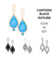 earrings with gems icon in cartoon style isolated vector image vector image