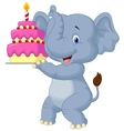 Elephant cartoon with birthday cake vector image vector image