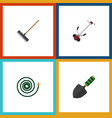 flat icon farm set of trowel grass-cutter harrow vector image vector image