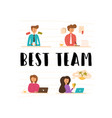 flat young team young professionals vector image
