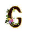 flower alphabet letter g decorated with roses and vector image