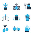 garden icons colored set with cherry pail wind vector image